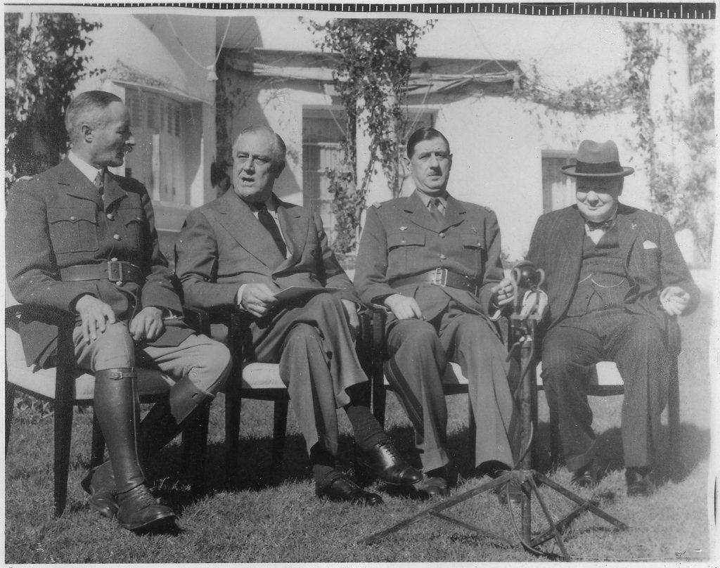 Жиро, Франклин Рузвельт, Де Голль и Черчилль, Конференция в Касабланке, 1943 год.