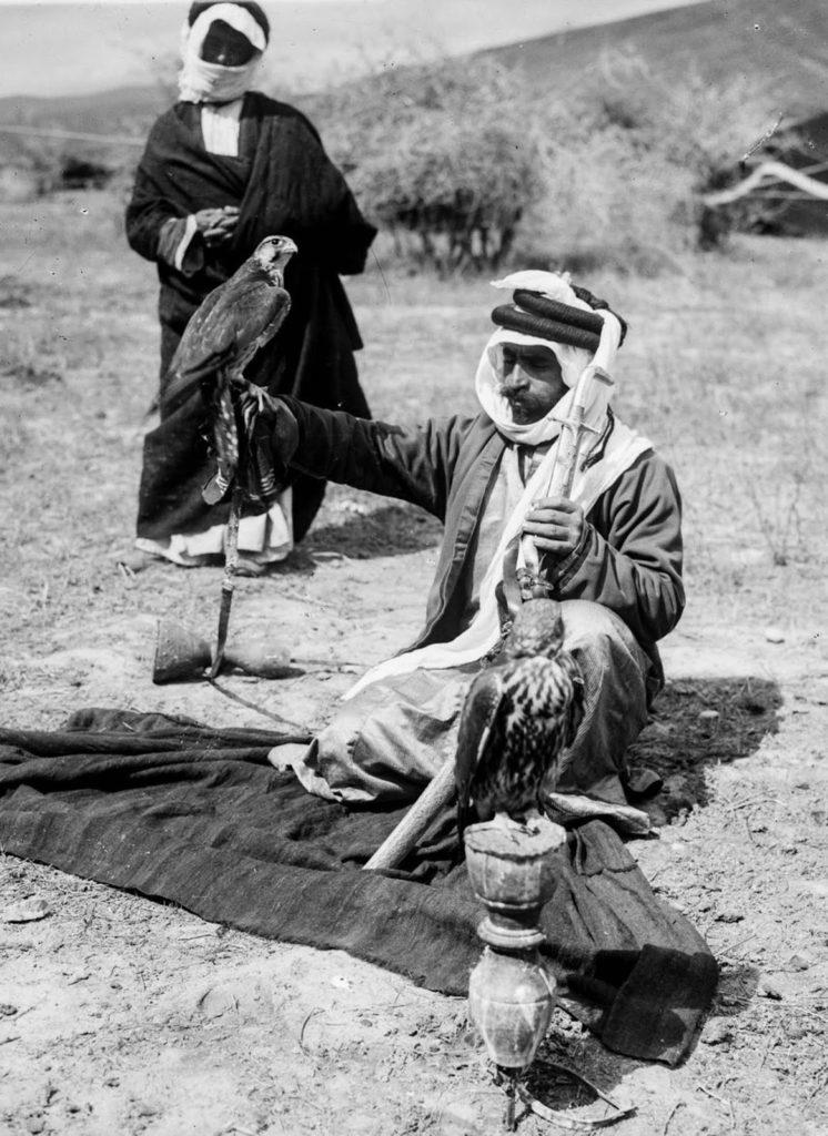Бедуин с дрессированными соколами, 1898 год.