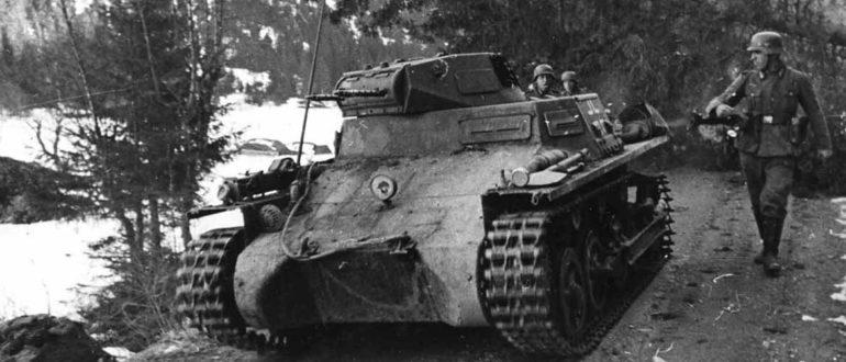 Танк Panzer I в Норвегии, 1940 год.